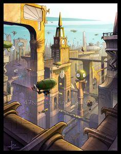 Kapitol color spread by on DeviantArt Steampunk City, Art Deco Artwork, Alternate History, New City, Retro Futurism, Secret Life, Dieselpunk, Surreal Art, Cool Eyes