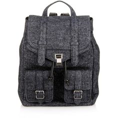 Proenza Schouler PS1 felt charcoal backpack ($1,780) ❤ liked on Polyvore featuring bags, backpacks, dark grey, proenza schouler bag, rucksack bag, proenza schouler, travel rucksack and backpacks bags