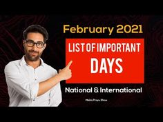 List of Important Days in February 2021 | Full List National & International | list of Special Days - YouTube Important Days In February, Special Days In November, List Of Important Days, January, Days And Months, Months In A Year, 31 Days, National And International Days, Easy Drawings For Beginners