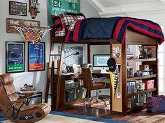 I love the PBteen Sleep & Study Loft Rugby Bedroom on pbteen.com