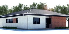 Small House Plan to narrow lot with two bedrooms, open plan, vaulted ceiling in the living area, big windows. Local Builders, Two Bedroom, Bedrooms, Big Windows, Small House Plans, Open Plan, Living Area, Architecture Design, Shed