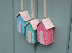 Set of 3 Handmade Driftwood Beach Hut Christmas Decorations. Metallic (Set 1)  £14.50