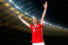 Thomas Mueller of Bayern Muenchen celebrates victory after the DFB Cup final match between FC Bayern Muenchen and Borussia Dortmund at Olympiastadion on May 21, 2016 in Berlin, Germany.