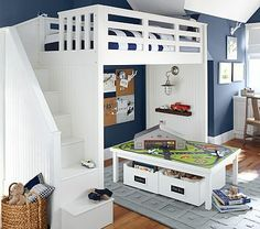Loft bed. Can either put play area under or a full size bed. Catalina Stair Loft Bed #pbkids