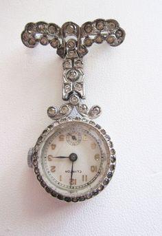 Retro vintage  Clinton Brooch Watch or pin   by twosistersarewe,