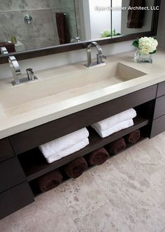 modern bathroom sinks. Sink and vanity are interesting  not sure if I have the width to do a double wide sink Pinebrook Residence contemporary bathroom cincinnati by Ryan 14 Reasons Use Concrete Countertops in Your Bathroom
