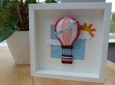 3D Hot Air Balloon Felt Picture, Christening Gift, Personalised Felt Box Frame, Personalized Nursery Decor