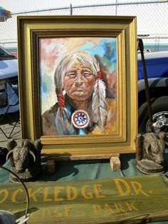 The old, proud Indian painting...love this flea market find. Long Beach Antiques Market
