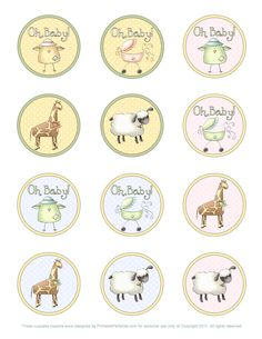 Animals for Baby Shower: Free Printable Kit. Baby Shower Printables, Party Printables, Free Printables, Printable Templates, Baby Elefante, Baby Shower Cupcake Toppers, Baby Cupcake, Bottle Cap Images, Bottle Caps