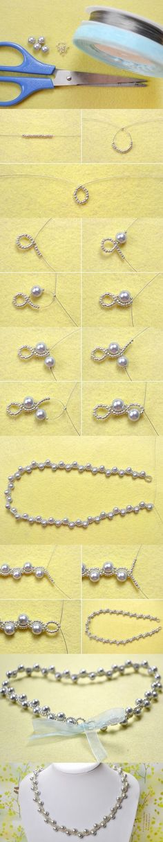 Simple OL Jewelry DIY on How to Make a Silver Gray Pearl Necklace with Ribbon Tie from LC.Pandahall.com | Jewelry Making Tutorials & Tips 2 | Pinterest by Jersica