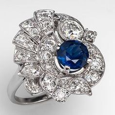 Retro Vintage Blue Sapphire & Diamond Spray Cocktail Ring Solid Platinum - EraGem