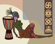African Wall Art, African Artwork, African Art Paintings, African Prints, African Fabric, African American Art, African Women, Black Art, Art Mural Africain