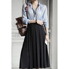 Preppy Style Shirt Collar Long Sleeve Shirt + High-Waisted Skirt Women's Twinset