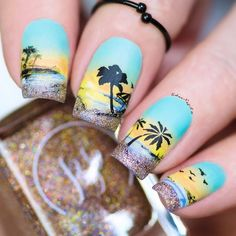 Possible Danger Signs On Vacation Nails Beach Tropical You Must Know About 67 Beach Nail Art, Beach Nail Designs, Beach Nails, Nail Art Designs, Tropical Nail Designs, Nails Design, Urban Nails, Sunset Nails, Vacation Nails