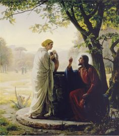 """Jesus … said unto her, Whosoever drinketh of this water shall thirst again: But whosoever drinketh of the water that I shall give him shall never thirst; but the water … shall be in him a well … springing up into everlasting life."" (John 4:13–14.) Painting by Carl Heinrich Bloch ""Christ and the Samaritan Woman"""