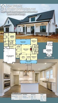 Architectural Designs House Plan 51762HZ client-built in Georgia. 3+BR, 2+BA, 2,000+ sq. ft. Ready when you are. Where do YOU want to build? #51762HZ #mynewhome #housearchitecture