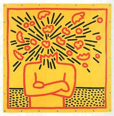 Keith Haring, Untitled, 1983 is that center brain piece supposed to be a heart? if i got 'heart cooks brain' tattooed forever across my back, could this accompany it, slightly edited?