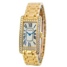 Cartier Lady's Yellow Gold and Diamonds Tank Americane Watch | From a unique collection of vintage wrist watches at http://www.1stdibs.com/jewelry/watches/wrist-watches/