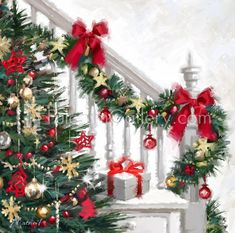 Xmas Staircase By The Macneil Studio Framed Art - Multi Christmas Scenes, Noel Christmas, Very Merry Christmas, Vintage Christmas Cards, Christmas Pictures, Christmas Wreaths, Christmas Crafts, Christmas Decorations, Christmas Ornaments