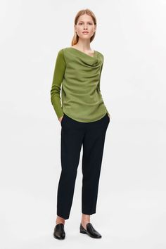 Top with draped neckline - Olive Green - Sale - COS US