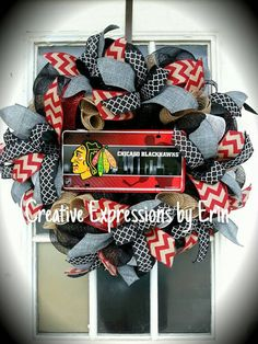 Chicago Blackhawks Wreath  Blackhawks Hockey by CExpressionsbyErin