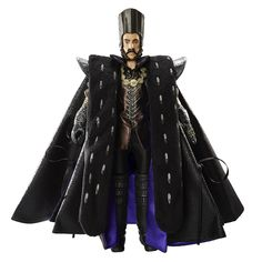 """Disney Alice in Wonderland Time (Sacha Baron Cohen) Toys """"R"""" Us Exclusive Deluxe Collector 11"""" Doll by Jakks Pacific, 2016 ($60 at Toysrus.com) - Alice faces a powerful new adversary, Time himself. Time doll is sculpted in the likeness of Sacha Baron Cohen and features his elaborate, layered foil-print black and purple lined coat, sculpted headdress, gloves, boots and necklace as seen in Disney's Alice Through the Looking Glass."""