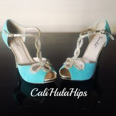 Turquoise blue & Gold Rhinestone accented Heels Glam girls will LOVE this shoe!  Size 8.  Turquoise velvety soft body.  Metallic gold heels & Rhinestones that would make anybody smile.  Sold out everywhere.  I had to track these down & took the last ones (these ones I used as back up for my special day.) I never used these. Brand New with box! Shoes Heels