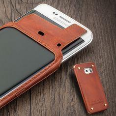 2015 Projeto Original QIALINO Genuine Leather case Telefone para Samsung galaxy s6 edge rebite design em volta proteger o telefone e couro