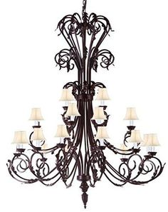 """Large Foyer / Entryway Wrought Iron Chandelier 50"""" Inches Tall With White Shades!! H50"""" X W30"""" - A83-Whiteshades/724/24"""