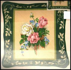 "1999 CANDAMAR DESIGNS FLORAL ""VICTORIAN ROSES PILLOW"" NEEDLEPOINT KIT ~ SEALED #CandamarDesigns"