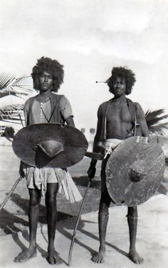 Africa | Basharin men. Sudan. || Vintage postcard; publisher Cairo Postcard Trust.