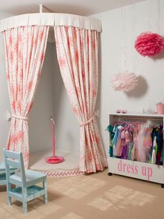 Kids Room, Wonderful Kids Play Room With A Stage With Mini White Microphone And A Set Of Wardrobe. Perfect for the playroom!
