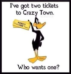 Two tickets to crazy town funny quotes quote crazy funny quote funny quotes looney toons daffy duck Cartoon Quotes, Funny Quotes, Funny Memes, Humor Quotes, Sarcastic Quotes, Foolish Quotes, Humorous Sayings, Fun Sayings, Funny Phrases