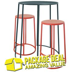Buy our Bongo bar table and 2 stools bundle. Available in 4 colours.