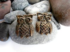 Drop Earrings Vintage Brass Owls by ReTainReUse on Etsy