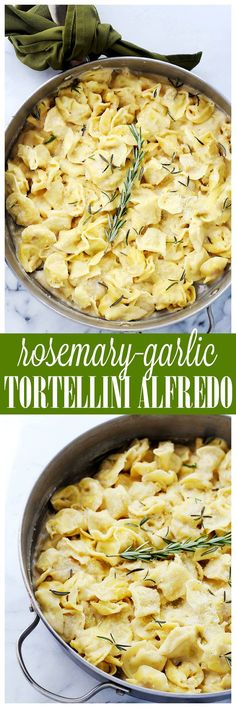 Rosemary Garlic Tortellini Alfredo - Easy, creamy, garlicky, 30-minute dinner with cheese tortellini and a lightened-up, homemade, flavorful Alfredo sauce.