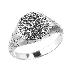 Sterling Silver Round Lotus Flower Unisex RingSize 5 -- Check out the image by visiting the link.