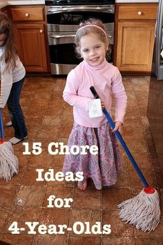 15 Chore Ideas for 4-Year-Olds -- Love these practical ideas for teaching your children to enjoy doing chores. Plus, some chore ideas you may not have thought of assigning to a young child. Great list!