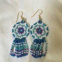 Beaded dream catcher earrings hand made Earrings blue turquoise Jewelry Earrings