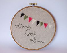 Home Sweet Home  Embroidery Hoop Art  6 inch by ThePhantomMoon, $38.00