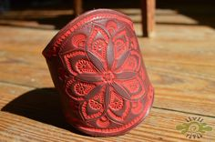 LeAthEr mAndalA cuFf - one of a kind - tooled and painted on naturally tanned leather - handmade