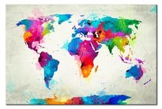 Cuadro moderno Map of the world - an explosion of colors