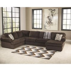 Signature Design By Ashley Jessa Chocolate (Brown) Fabric Place Sectional