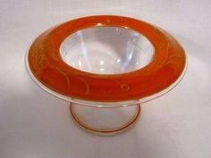 Orange Gold Art Deco Bowl Compote Vintage