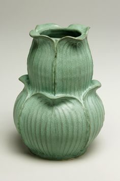 Sculptural earthenware vessel hand-thrown and carved by artist Jonathan White. Grovewood Gallery in Asheville, NC.