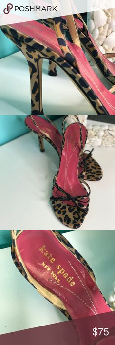 Kate Spade Leopard Open Toe Sling Back Heels Very gently worn Kate Spade animal print open toe sandals with a slingback.  Cute for every season!    Bundle & Save! Purchase 2 or more items from this closet and save 30%. kate spade Shoes Heels