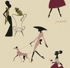 Pets Beige (1091204) - Paper Moon Wallpapers - Stunning silhouettes of modelesque women in couture pink and red fashion outfits with glam pets on a creamy pearl background. Easy-to-hang 'Paste the wall' paper. More stunning colourways also available. Please order sample for true colour match.