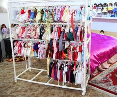 Doll clothes photo Wardrobe_with_Clothes. American Girl Storage, American Girl Crafts, Diy Clothes Rack, Clothes Crafts, Cheap Clothes, Clothes Storage, Craft Show Displays, Craft Show Ideas, Doll Crafts