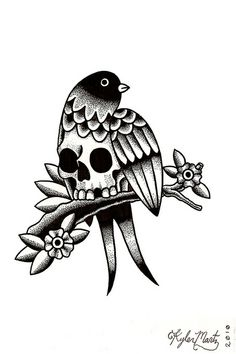 Best Kyler Martz Illustration Bird Skull images on Designspiration - Old School Tattoo Old School, Old School Tattoo Designs, Flash Art Tattoos, Tattoo Band, Arm Tattoo, Sleeve Tattoos, Samoan Tattoo, Polynesian Tattoos, Leg Tattoos