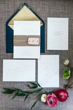 navy and gold wedding invitations by Emily Wren Photography http://www.weddingchicks.com/2016/06/09/gold-white-and-navy-glam-wedding/